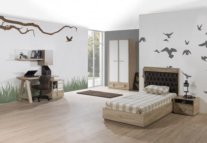 Kinderzimmer ALFA Bett 90x200 cm natur braun weiss Jugendzimmer