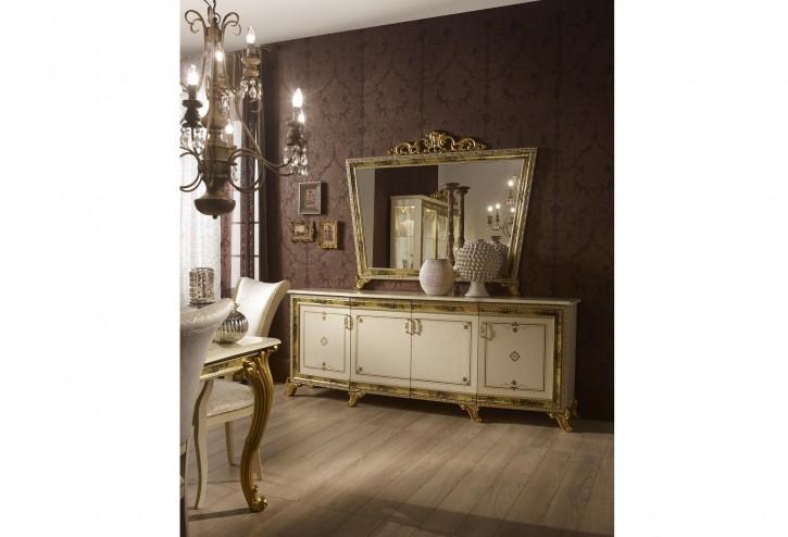 Buffet Kommode mit Spiegel Karla Beige Gold Italien Luxus