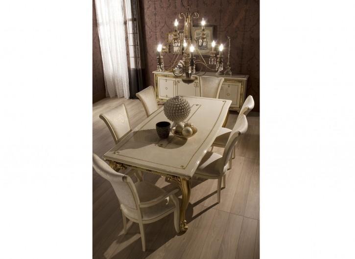 Stühle Karla Beige Gold Italien Luxus 4er Set mit Armlehne