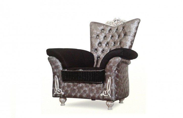 Sessel Buglem silber grau schwarz Garnituren Polstermöbel