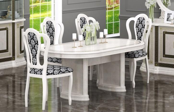 Esstisch mit Stühlen Versal beige klassisch Barock