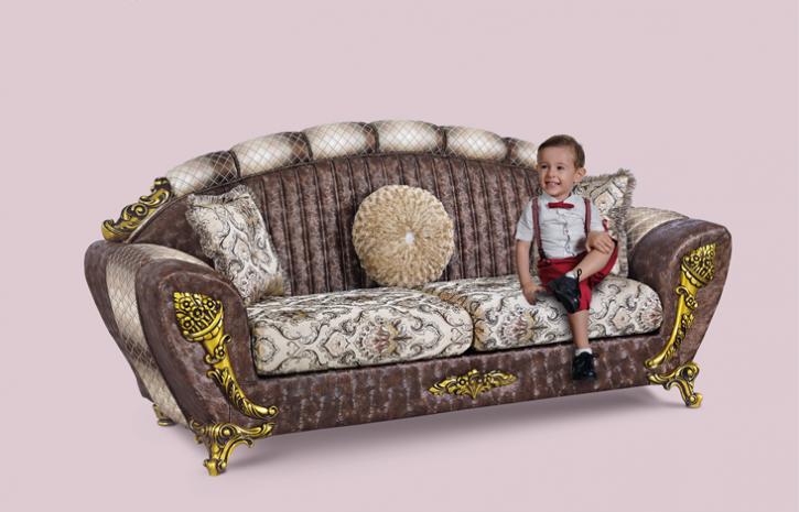 Couch Mirac 3er braun beige Klassik Barockstil Orient