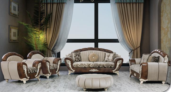 Sitzgruppe Mirac beige braun Klassik Barockstil Orient