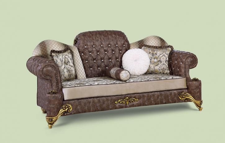Couch Hürrem 3er braun beige Klassik Barockstil Orient