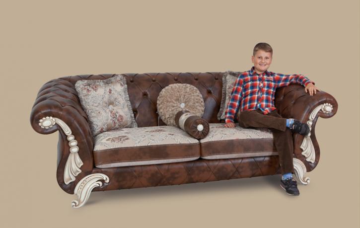 Couch Tugra 3er braun Klassik Barockstil Orient