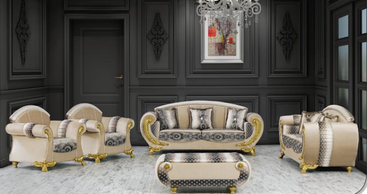 Sitzgruppe Galaksi beige gold Klassik Barockstil Orient