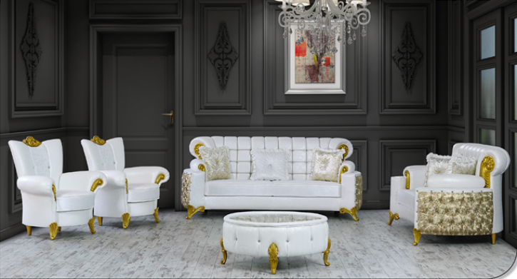 Sitzgruppe Uranüs weiss gold Klassik Barockstil Orient