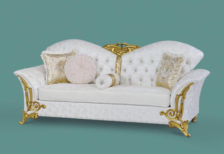 Couch Buglem 3er weiss gold Klassik Barockstil Orient