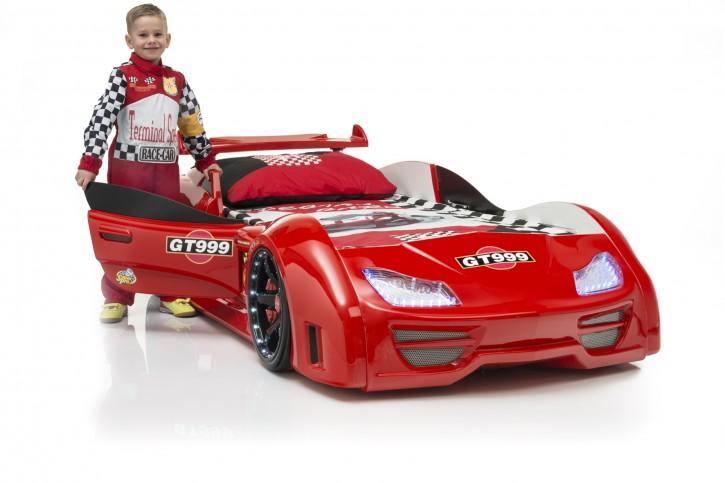 Autobett Turbo GT999 Rot mit LED und Spoiler Tür öffnet sich