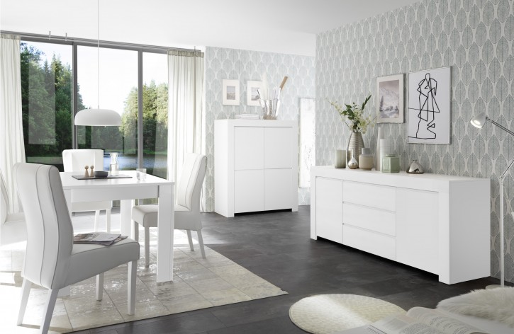 Esszimmer Set Fren in weiss Highboard
