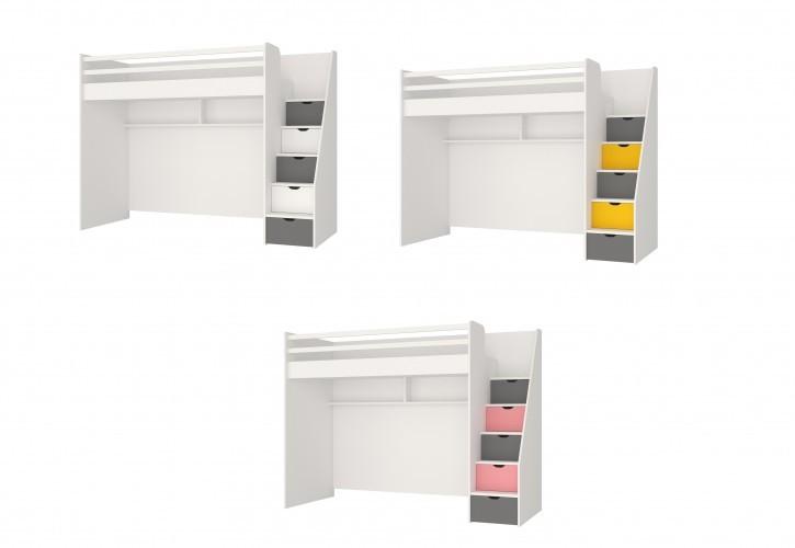 Hochbett Neo für Jugendzimmer mit LEDs und USB in Verschiedenen Farben
