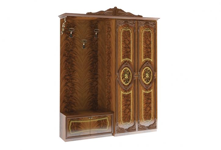 Garderobe Rozza 2trg und Sideboard mit Kleiderbügel wallnuss