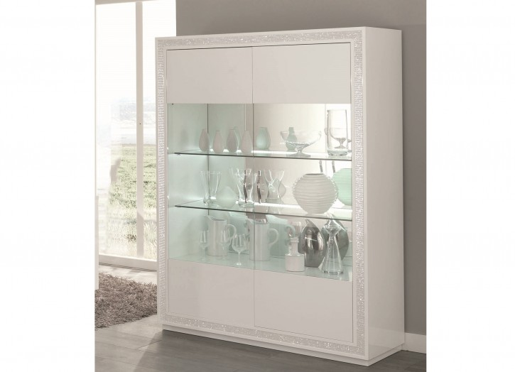 Vitrine 2 trg. Christal in weiss mit LED Beleuchtung