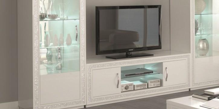 Tv Unterschrank Christal in weiss mit LED Beleuchtung