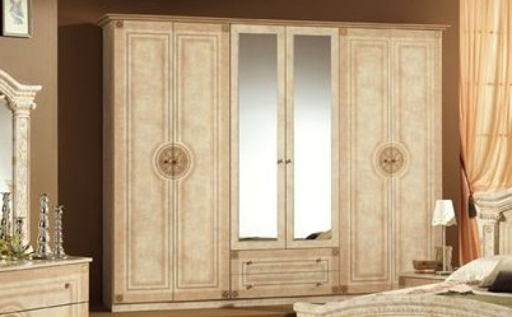 kleiderschrank 6 t rig rana creme beige klassik barock ran 6d. Black Bedroom Furniture Sets. Home Design Ideas