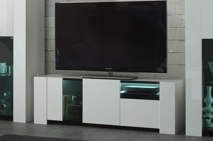 Tv Unterschrank Miammi in weiss Hochglanz mit LED klein