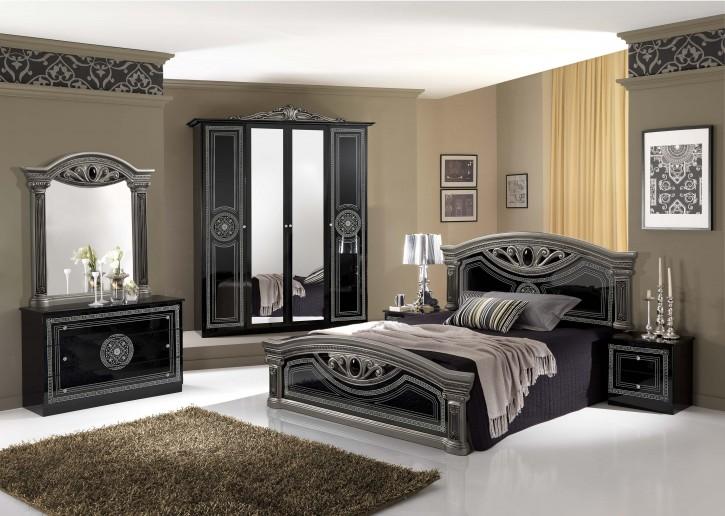 Schlafzimmer Giulia in schwarz silber Klassik Barock