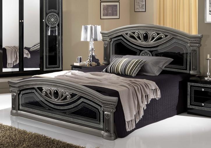 Bett 160x200 cm Giulia in schwarz silber Barock Klassik