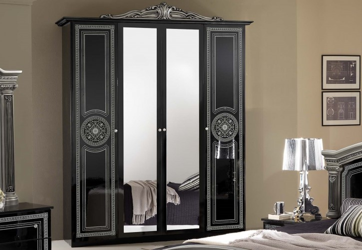 kleiderschrank 4 trg giulia in schwarz silber klassik. Black Bedroom Furniture Sets. Home Design Ideas