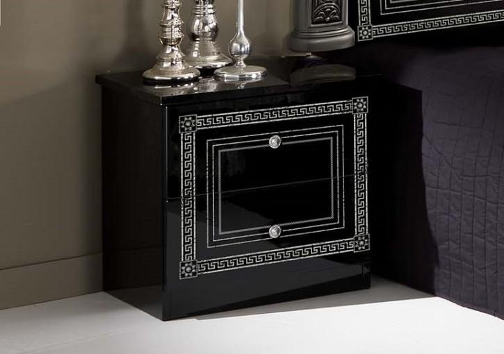 Nachtkonsole Giulia in schwarz silber Klassik Barock