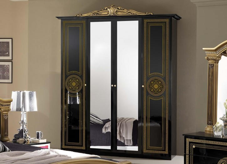 kleiderschrank 4 trg giulia in schwarz gold klassik barock xp pfglcar4agold. Black Bedroom Furniture Sets. Home Design Ideas