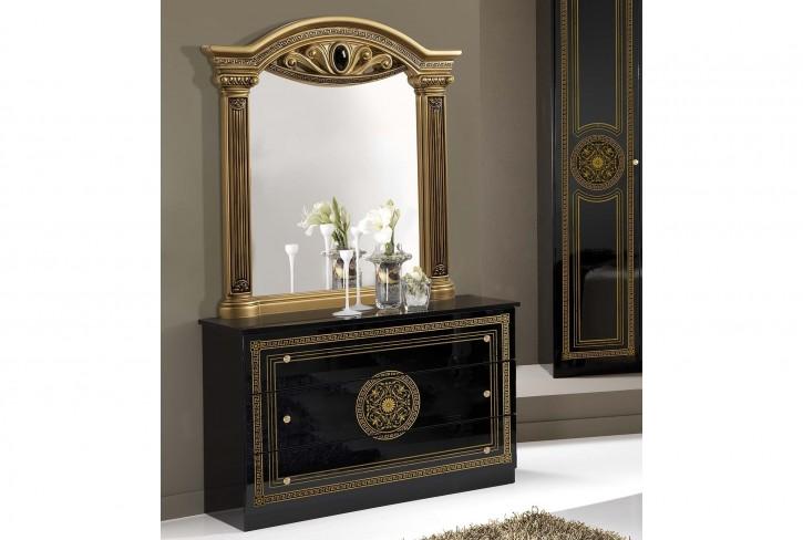 Wäschekommode Giulia mit Spiegel in schwarz gold Klassik Barock