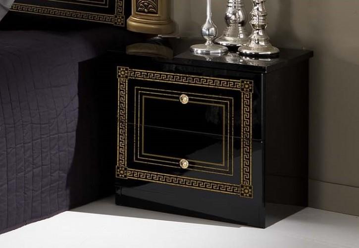 Nachtkonsole Giulia in schwarz gold Klassik Barock