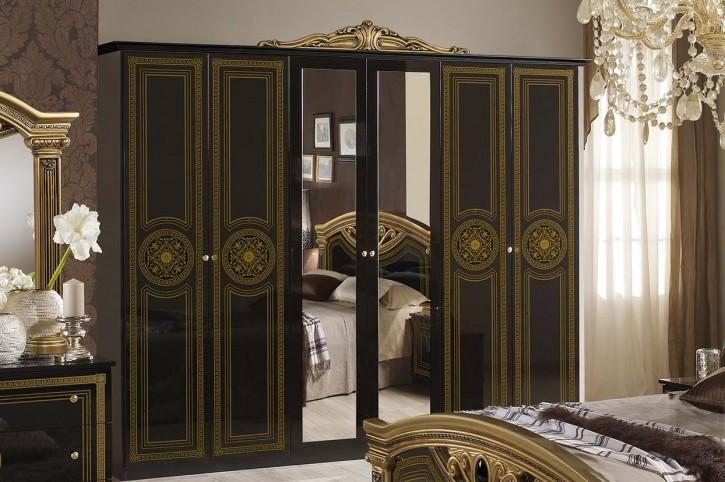 Kleiderschrank 6 trg Giulia in schwarz gold Klassik Barock