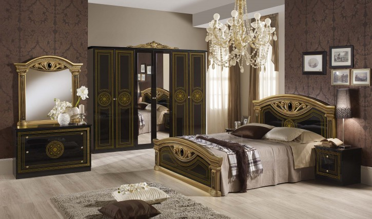 schlafzimmer giulia in schwarz gold klassik barock 6trg xp pfagcca6agold. Black Bedroom Furniture Sets. Home Design Ideas