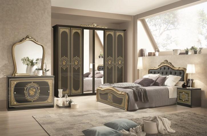 Schlafzimmer Alice 6-teilig in schwarz Gold Barock mit Polsterung