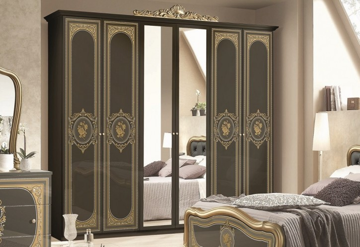 Kleiderschrank Alice 6 türig in Schwarz Gold Schlafzimmermöbel