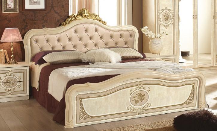 Bett 160x200 cm Alice in beige mit Polsterung
