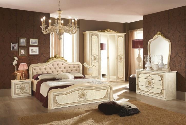 Schlafzimmer Alice in creme beige Barock Polsterung 160x200cm