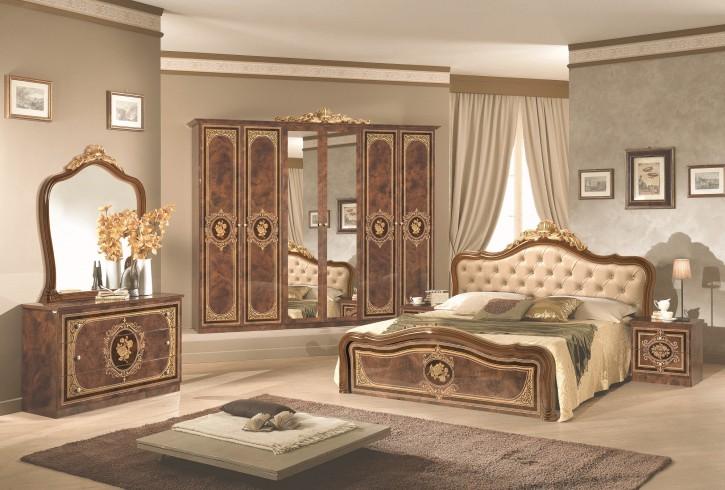Schlafzimmer Alice 6 teilig in Walnuss Gold Barock Polsterung