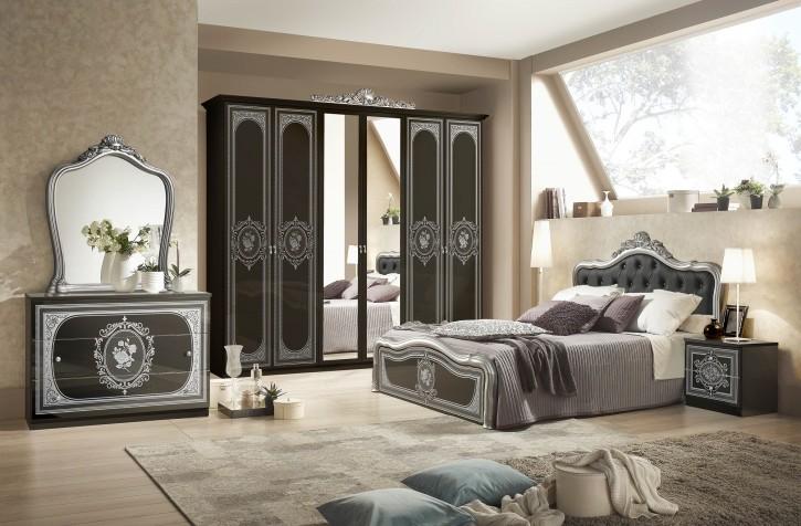 Schlafzimmer Alice 6 Teilig in Schwarz Silber Barock mit Polsterung