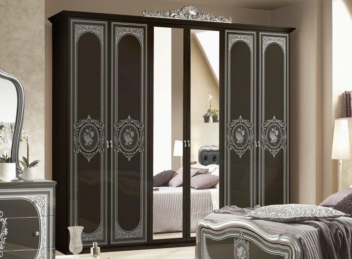 Kleiderschrank Alice 6türig in Schwarz Silber Schlafzimmermöbel