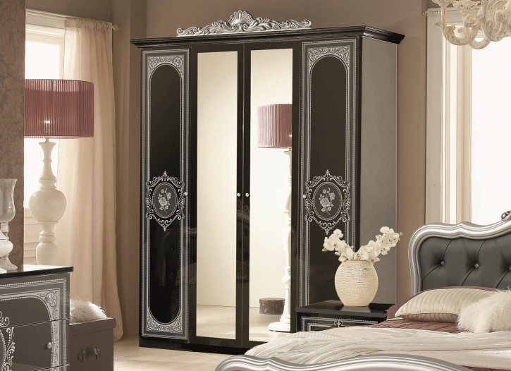 kleiderschrank alice 4 t rig in schwarz silber. Black Bedroom Furniture Sets. Home Design Ideas