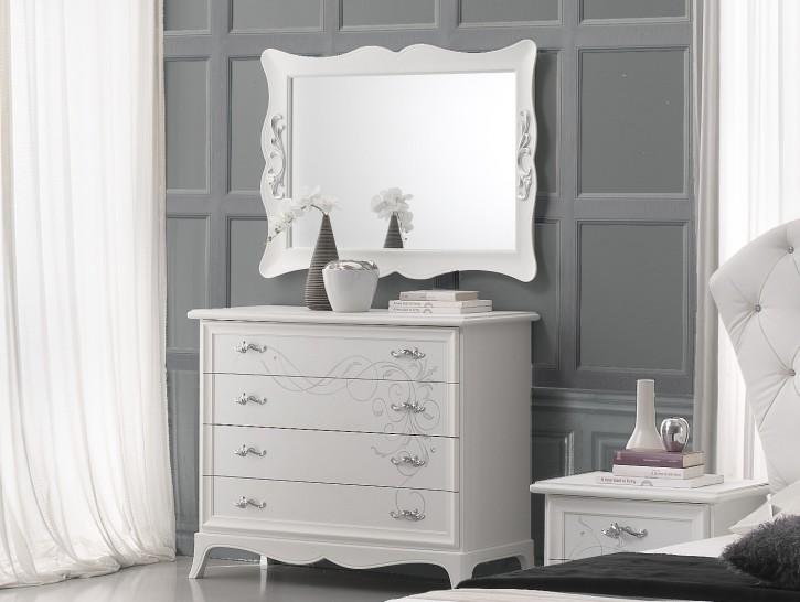 Wäschekommode mit Spiegel Gisell in weiss Schlafzimmer