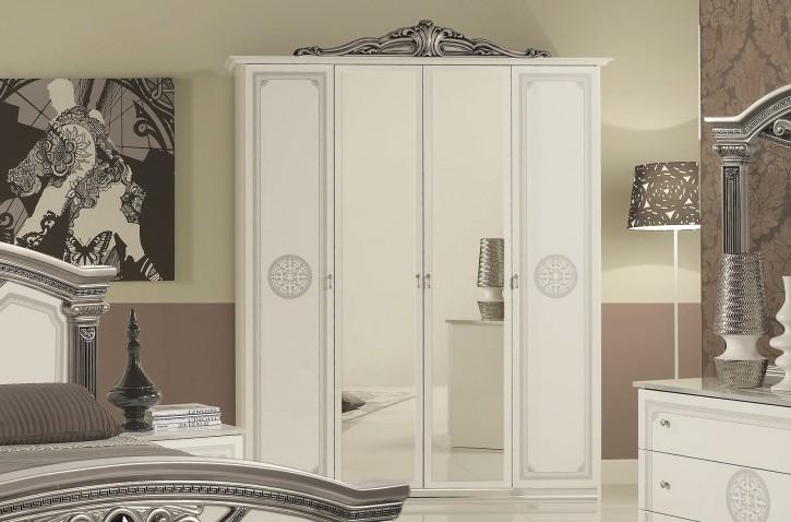 Kleiderschrank 4 trg Giulia in weiss silber Klassik Barock
