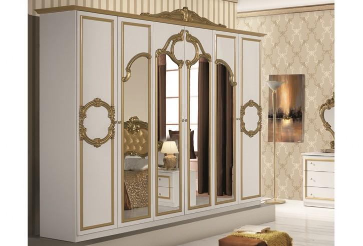 Kleiderschrank 6trg Barocco in weiss gold Klassik