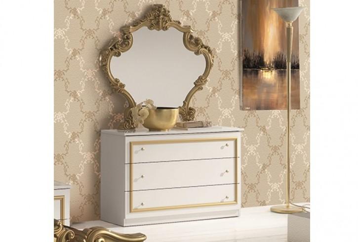 Kommode mit Spiegel Barocco in weiss gold Klassik Barock