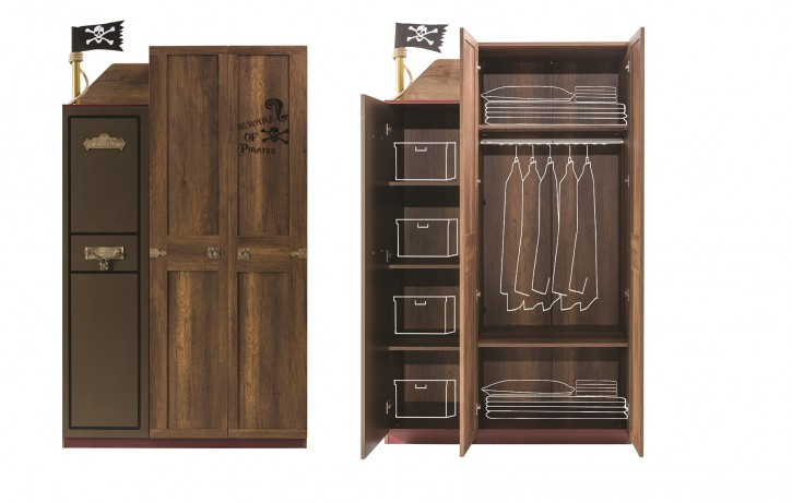 kleiderschrank 3trg korsan pirat in braun f r kinderzimmer 68403. Black Bedroom Furniture Sets. Home Design Ideas