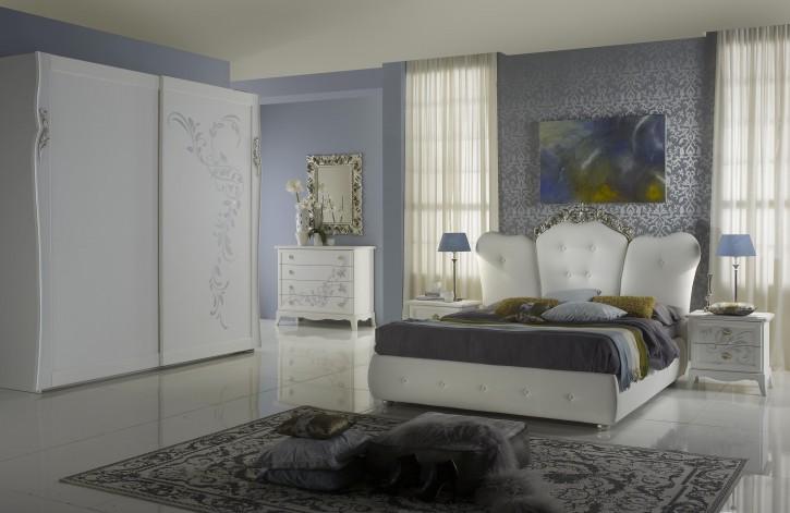Schlafzimmer Cilla weiss creme mit Bettkasten Stauraum Luxus 180