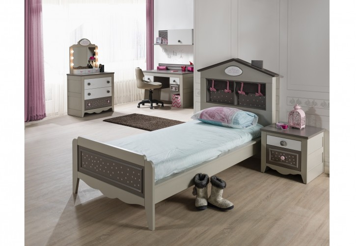 Kinderzimmer Houses 6 tlg braun weiss Boutique