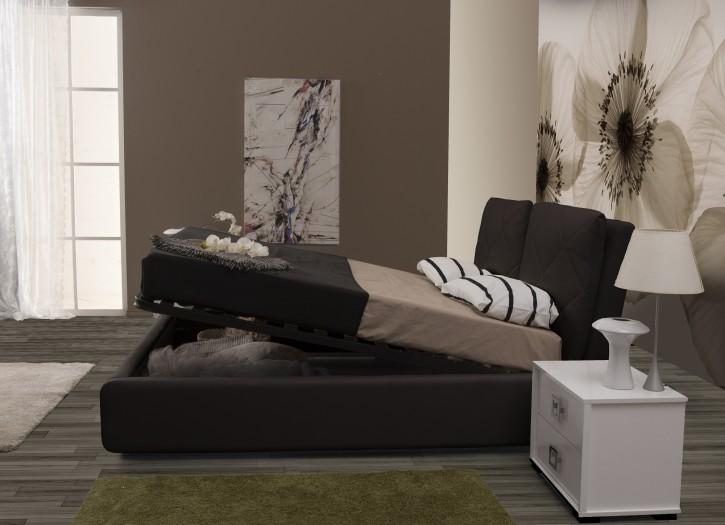 Stauraumbett Bett Muna 160x200 cm Polsterbett in schwarz