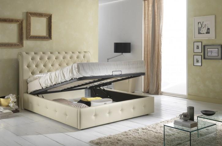 Bett PARA 160x200 cm mit Stauraum polster beige creme