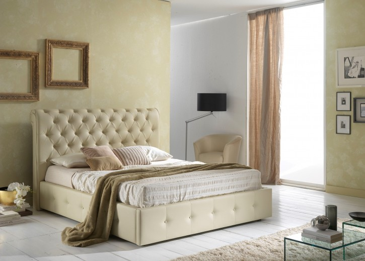 bett peninsula 160x200 cm mit polster beige creme pen 160 l. Black Bedroom Furniture Sets. Home Design Ideas