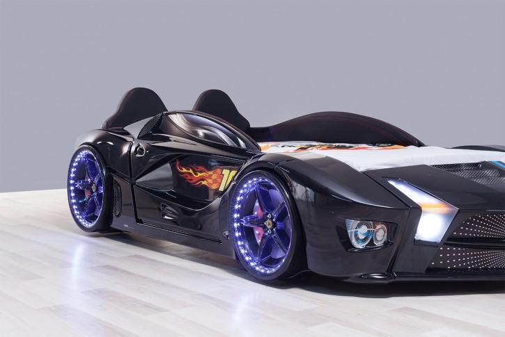 Autobett Luxury Vollversion schwarz mit LED und Polsterung Bett