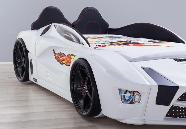 Autobett Luxury mit Polsterung weiss inkl Front LED