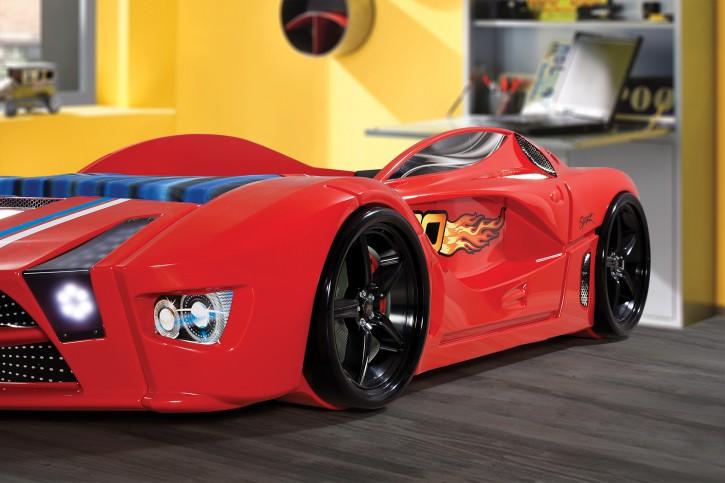 Autobett Speed in rot mit Frontbeleuchtung